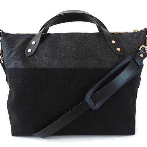 CORK + CANVAS BLACK SATCHEL BAG