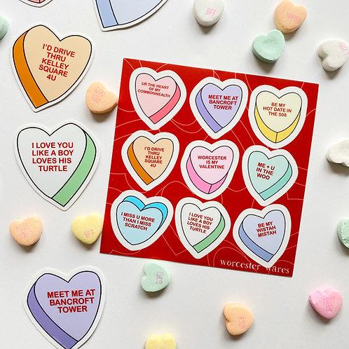 Candy Heart Sticker Sheet