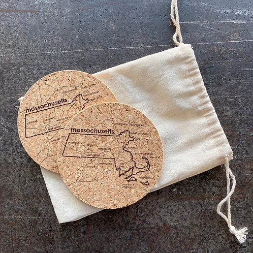 Massachusetts Coasters (2 pack)