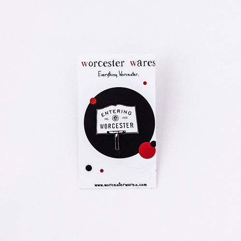 Entering Worcester Enamel Pin