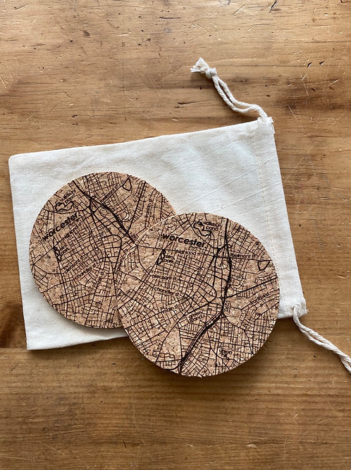 Worcester Map Coasters (2 pack)
