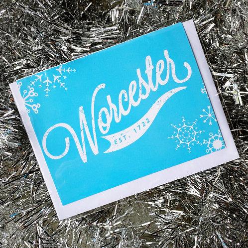 Blue Worcester Winter Card