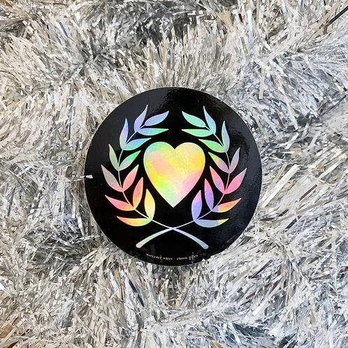 Holographic Heart & Laurel Sticker