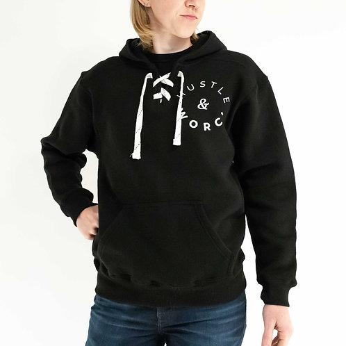 Hustle & Worc' Black Skatelace Hoodie