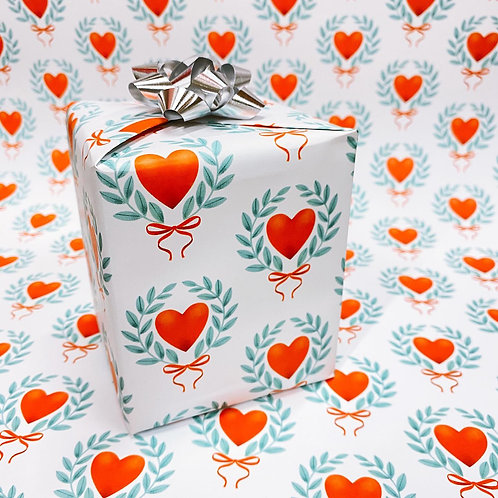 Heart and Laurel Wrapping Paper