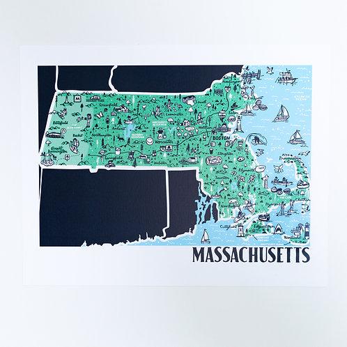 Massachusetts Illustrated Map Print