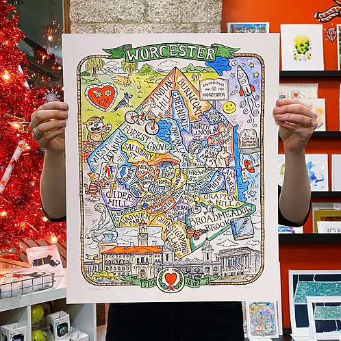 Illustrated Worcester Print