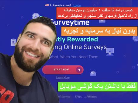 کسب درآمد از سایت معتبر نظرسنجی Surveytime.io