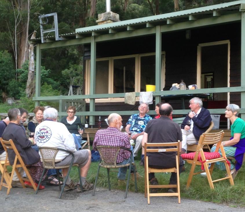re dinner drinks outside Cabin 1