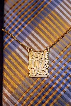 Best Life Ever Tie Chain Gold Color Metal