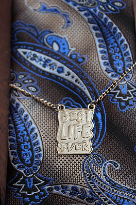 Best Life Ever Tie Chain Silver Color Metal