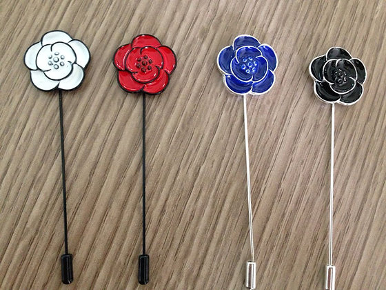 4 Flower Lapel Pins Pack