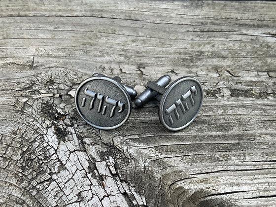 """Tetragrammaton Cufflinks 3/4"""" Round Antique Silver Color"""