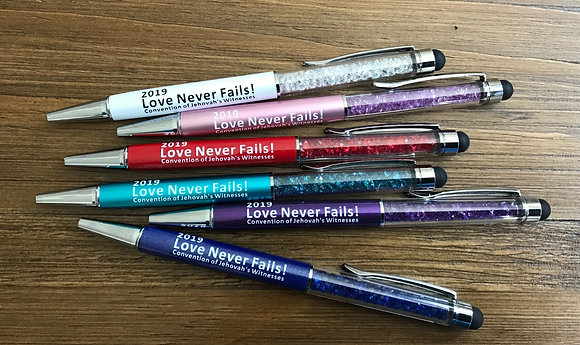 25- 2019 Love Never Fails! Sparkle Stylus Pen
