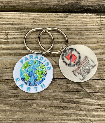 1- Paradise Earth Keychain with No Blood Info