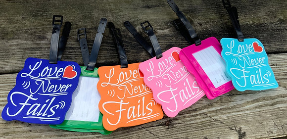 2- Love Never Fails! Luggage Tags