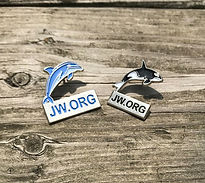 jw.org Dolphin and Whale Lapel Pins made for Jehovah's Witnesses