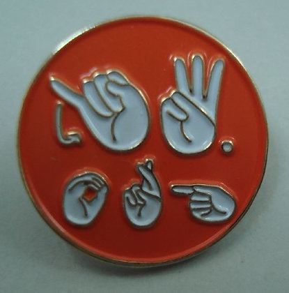 "1 Orange ASL JW.ORG 3/4"" Round Lapel Pins"