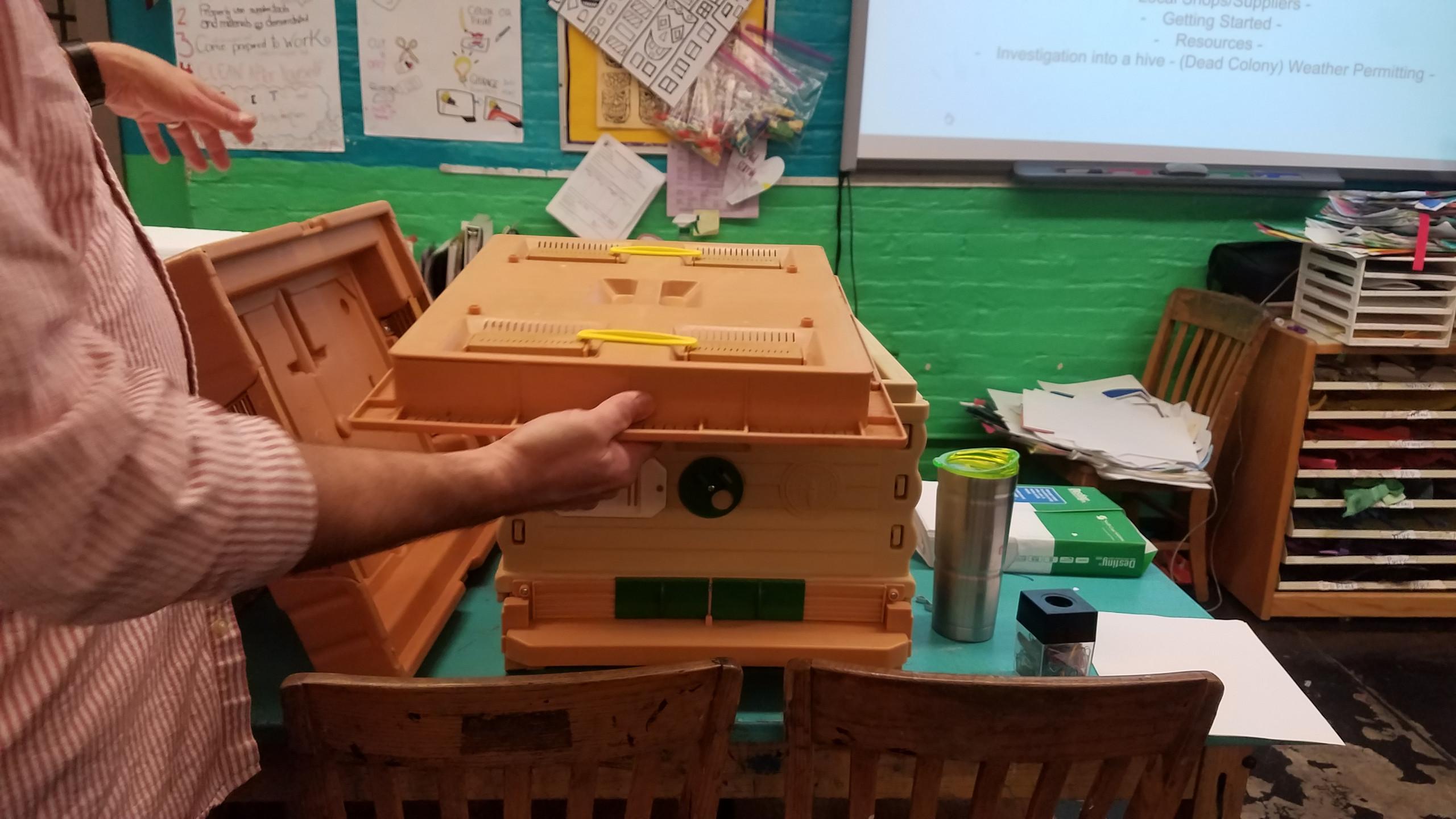 A plastic beehive