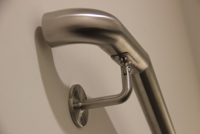 Satin-Polished Stainless Steel Wall-Mounted Handrail