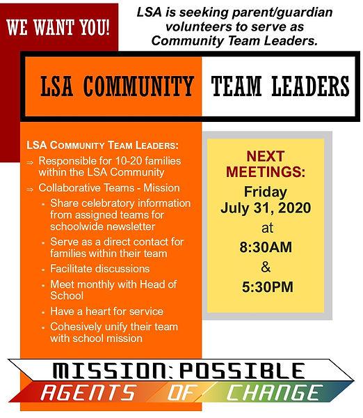 Community Team Leaders 7.31.20 Meetings.