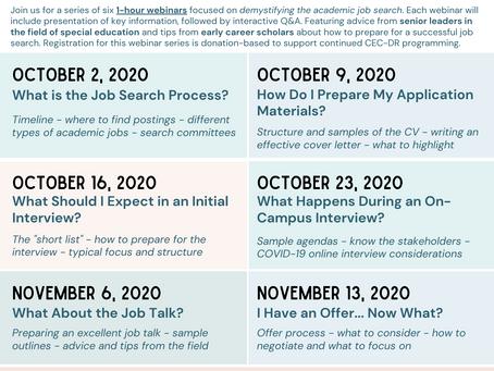 CEC-DR Webinar Series on Academic Job Search