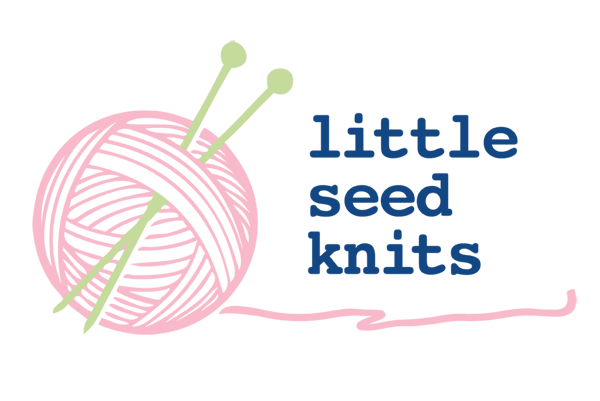 A business logo; a pink ball of yarn with green knitting needles with the words little seed knits next to it on the left hand side.