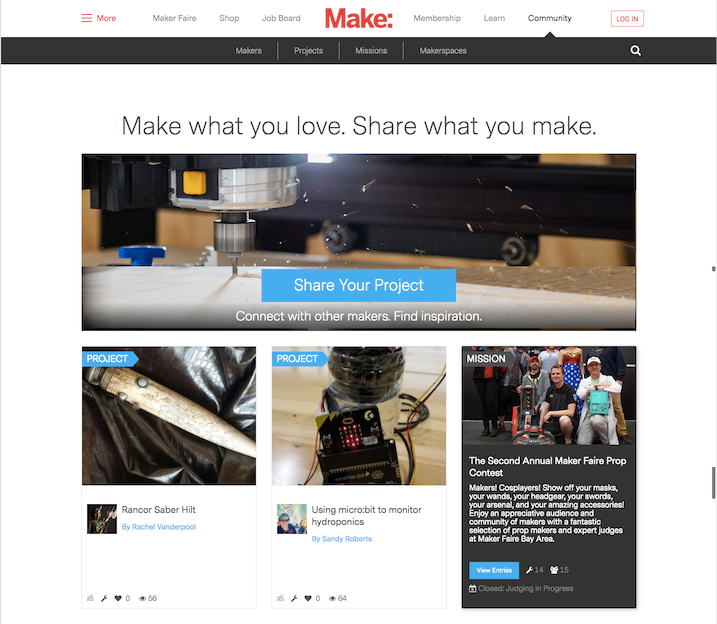 Maker Share home page