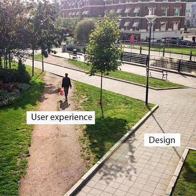 Photo illustrating the difference between UX and Design.