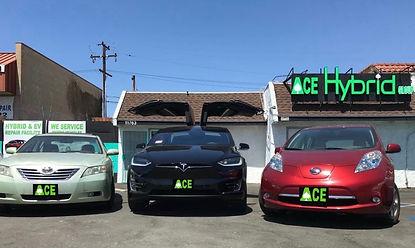 Toyota Camry Hybrid, Tesla Model X, Nissan Leaf, Ace Hybrid Group