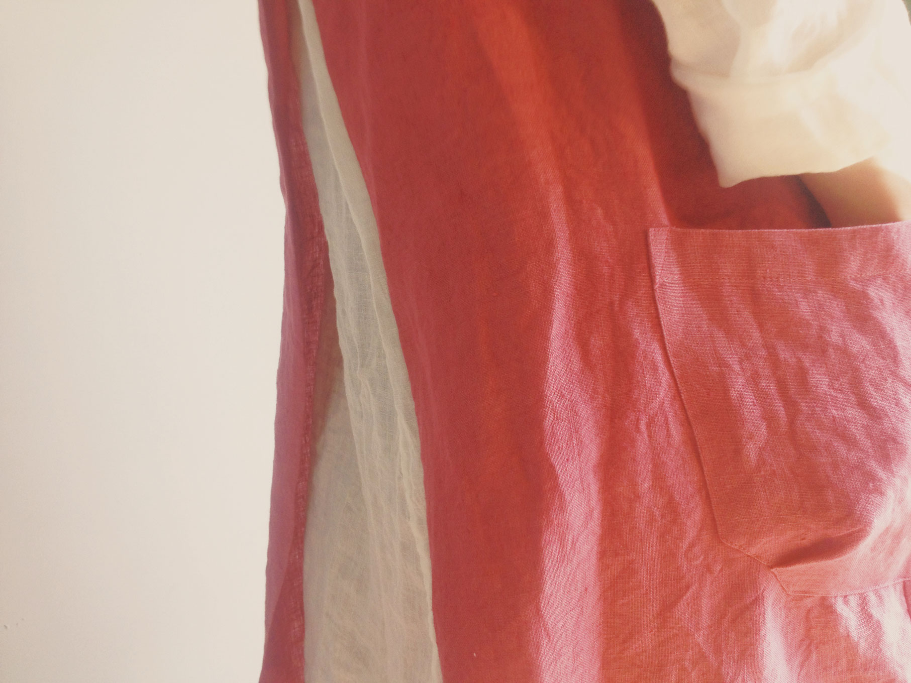 Apron linen/Red