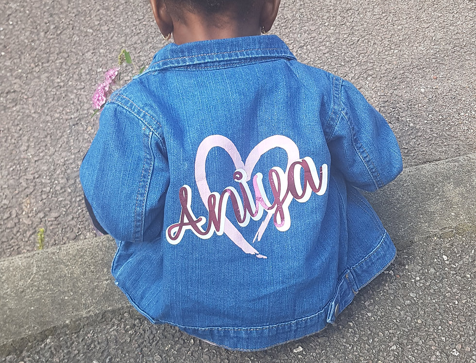 Personalised Heart Denim Jacket 3m-3yrs