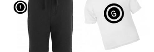 Personalised shorts and t-shirt set (large initial circle)