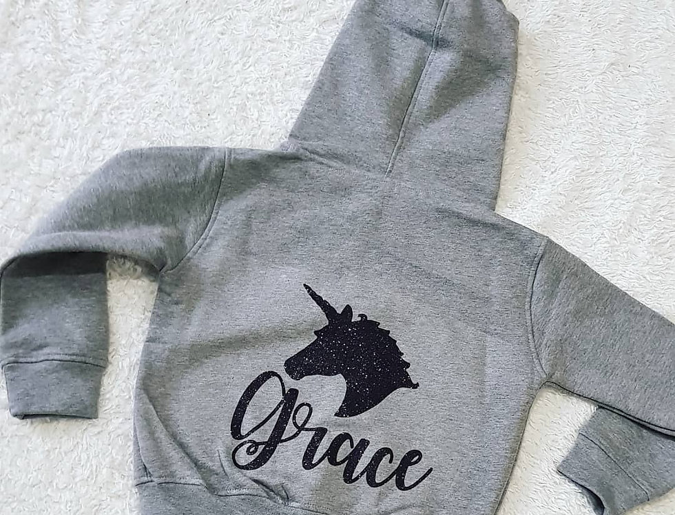 Unicorn Hoodie (6m-6yrs) (zip hood)