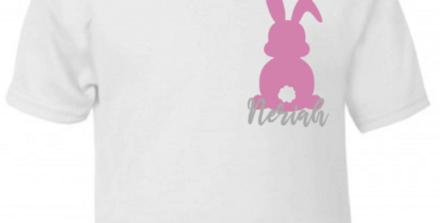 Pink easter bunny (side) t-shirt
