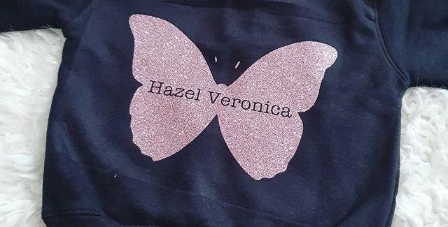 Butterfly Personalised hoodie (6m-6yrs)