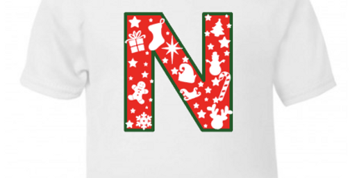 Large Christmas Initial T-shirt