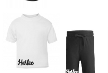 Personalised side shorts set with hat