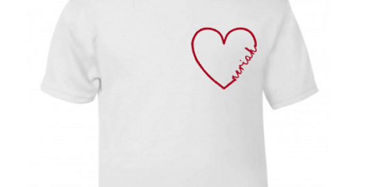 love heart personalised t-shirt