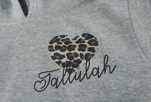 leopard print heart hoodie