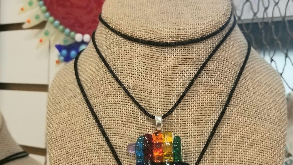 Rainbow fused glass necklace