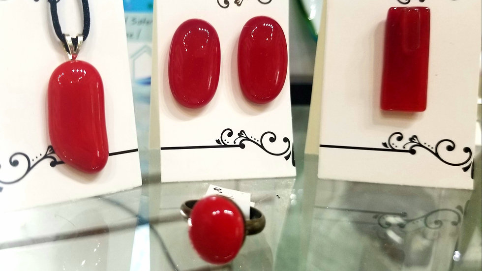 Fused glass jewelry in fire engine red.