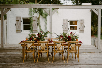 Wood table and chair rentals