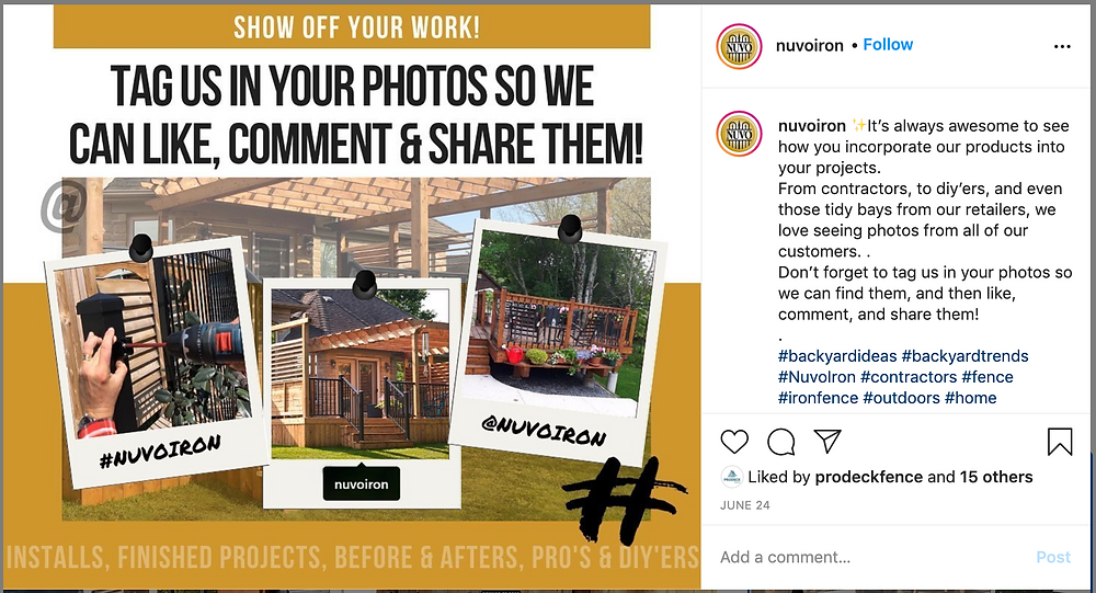 Screenshot of one of Nuvo Iron's instagram posts