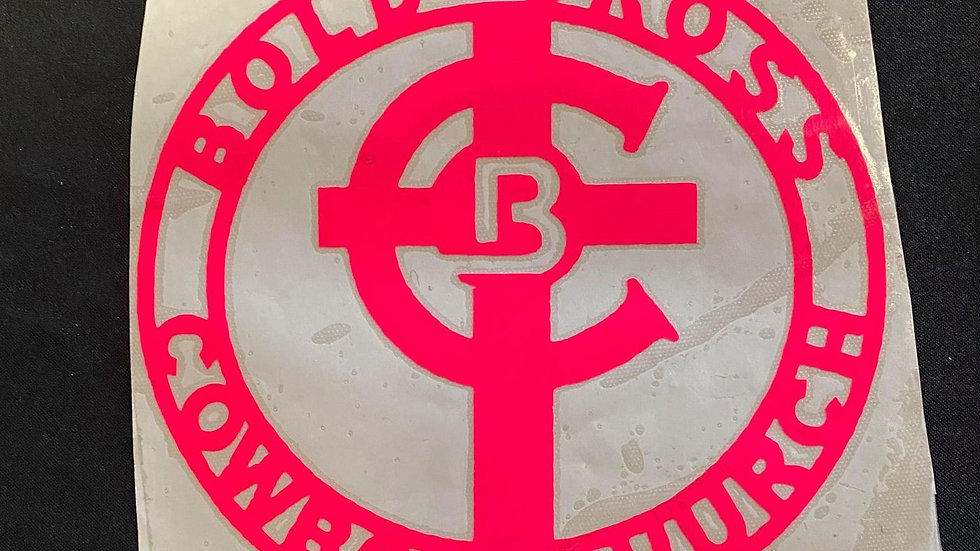 Large Neon Pink Bold Cross Decal