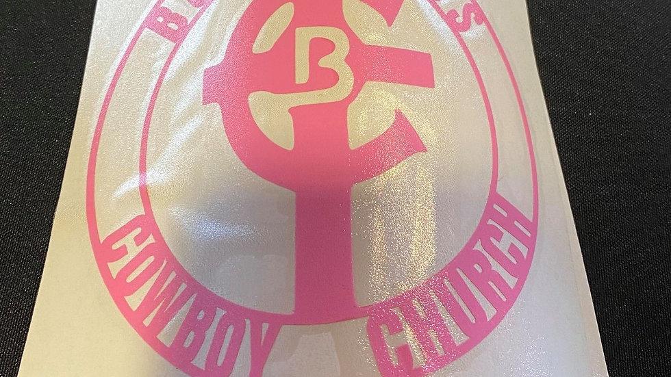 Small Light Pink Bold Cross Decal