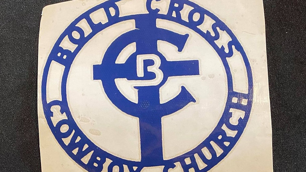 Small Blue Bold Cross Decal