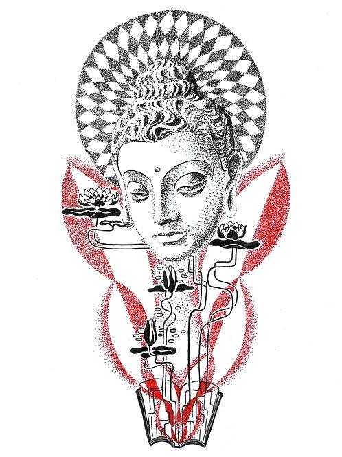 Buddha Fibonacci - Stipple Art