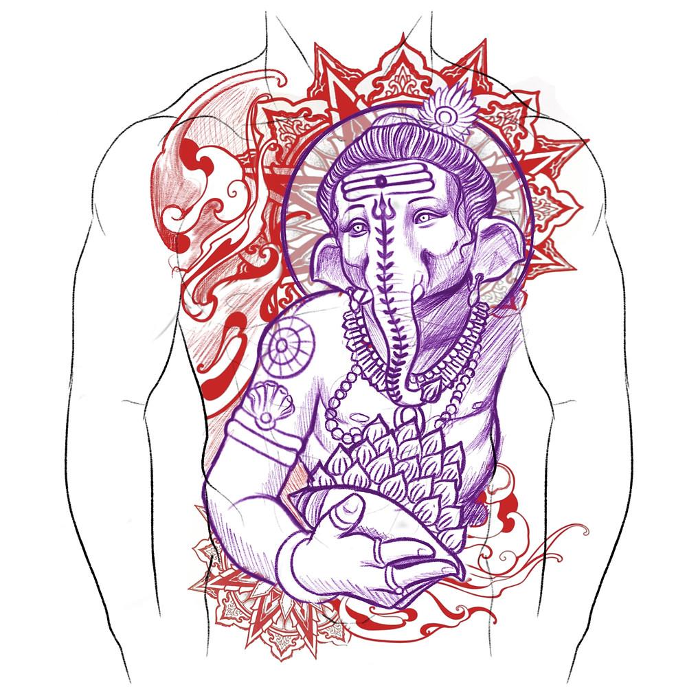 Full Torso Tattoo Design of Lord Ganesha