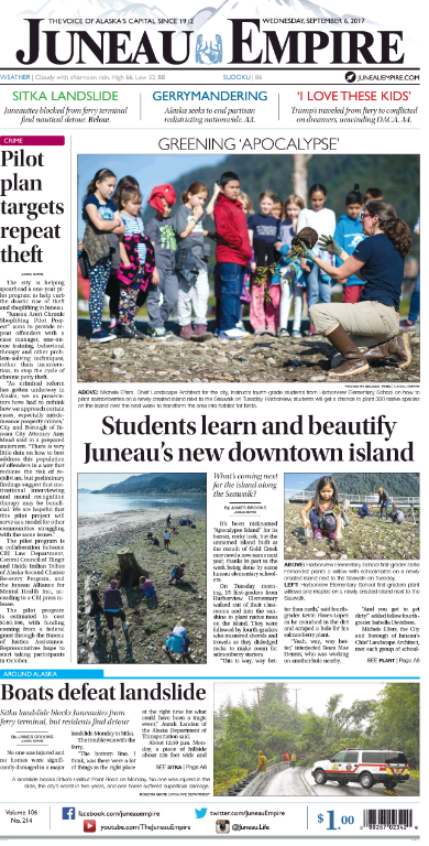 Front Page Feature: Greening 'Apocalypse': Students learn and beautify Juneau's new downtown island
